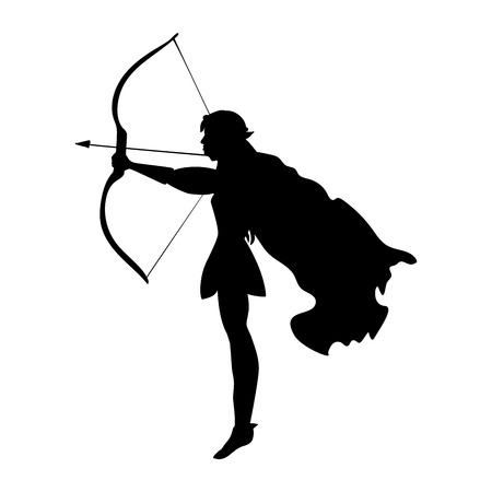 Elf silhouette ancient mythology fantasy.