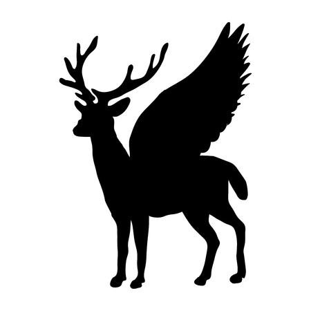 Deer Peryton silhouette ancient mythology fantasy. Illustration