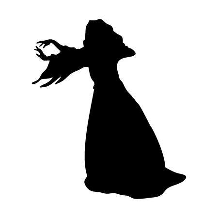 魔術魔女魔法のシルエット ファンタジー。  イラスト・ベクター素材