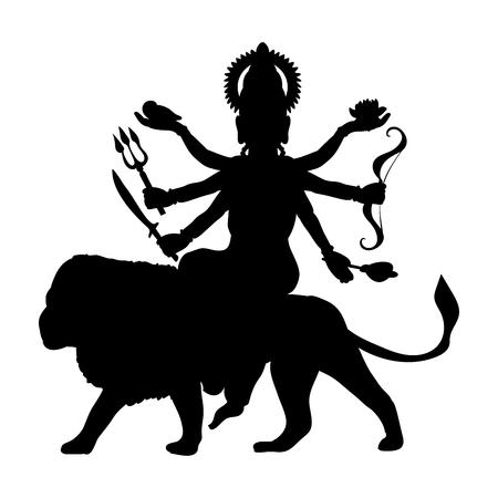Durga silhouette traditional religion spirituality. Illustration
