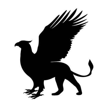 グリフィン シルエット古代神話ファンタジー。  イラスト・ベクター素材