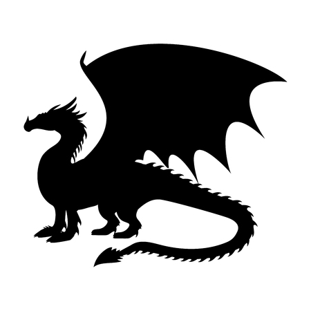 Dragon fantastic silhouette symbol mythology fantasy.