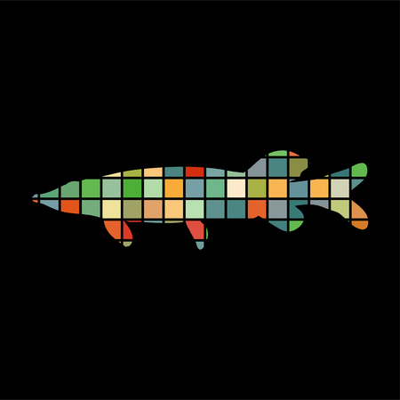 Pike fish mosaic color silhouette aquatic animal on black background.
