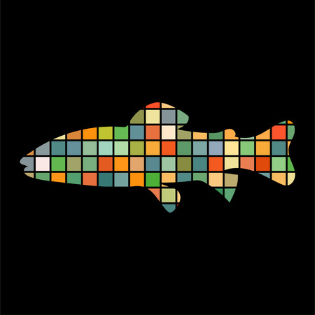 Salmon trout fish mosaic color silhouette aquatic animal on black background. Illustration