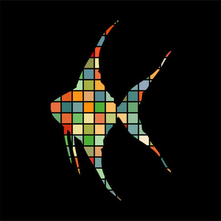 Scalare fish mosaic color silhouette aquatic animal background.