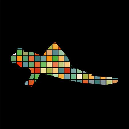 Mudskipper fish mosaic color silhouette aquatic animal background.