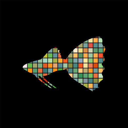 Guppy fish mosaic color silhouette aquatic animal background.