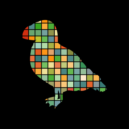 Puffin bird mosaic colorful silhouette animal  design.