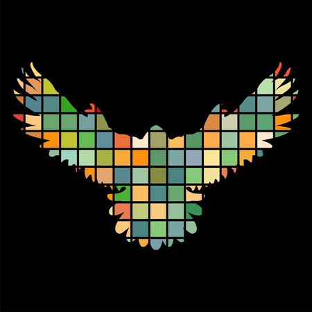 Falcon hawk bird mosaic color silhouette animal background black