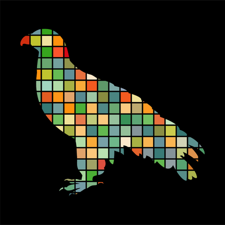 Orlan hawk bird mosaic color silhouette animal background black  イラスト・ベクター素材