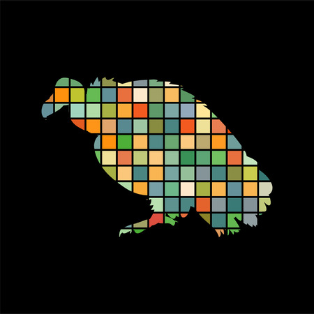 Vulture bird mosaic color silhouette animal background black