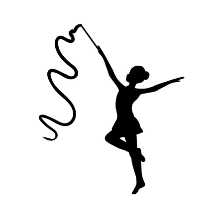 Girl gymnastic sport silhouette Vectores