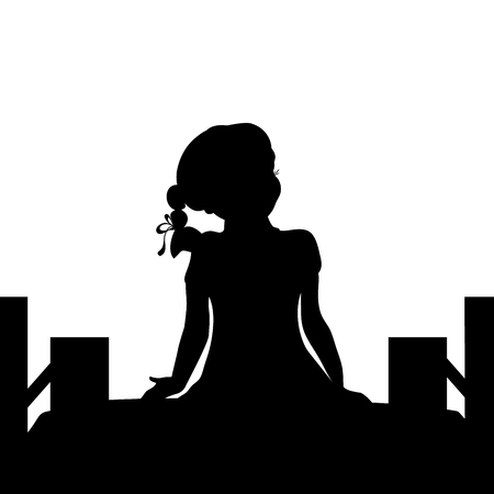 Silhouette girl sit bridge dreams. Vector illustration