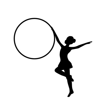 Girl gymnastic sport silhouette sportswoman hula hoop. Vector illustration