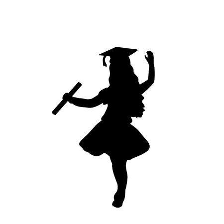 Silhouette girl graduation finished studying. Vector illustration