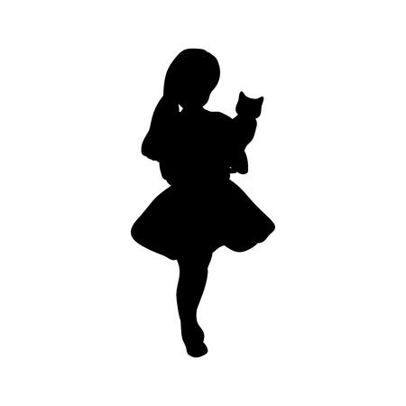 Silhouette girl holding a cat. Vector illustration Çizim