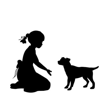 Silhouette girl sitting knees beckon dog. Vector illustration