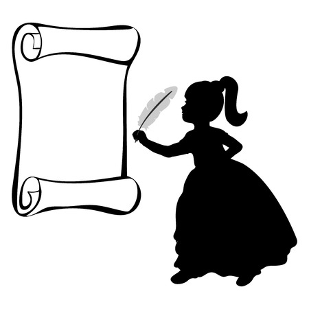 Silhouette girl with feather. World poetry day. Vector illustration