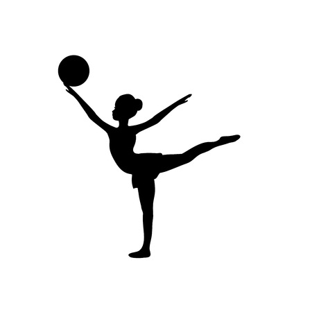Girl gymnastic sport silhouette sportswoman ball. Vector illustration Illustration