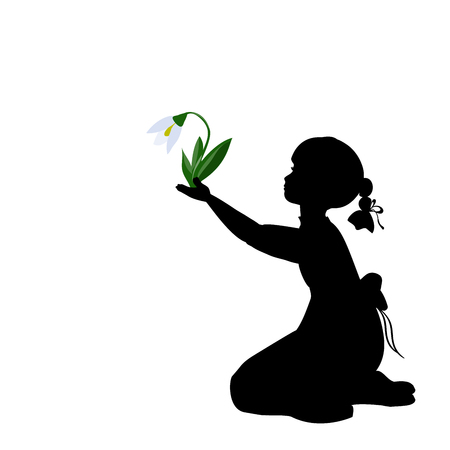 Silhouette girl with spring snowdrops. Vector illustration