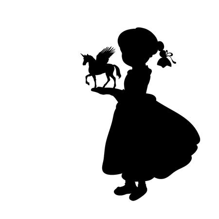 Silhouette girl holding fantasy unicorn vector illustration.
