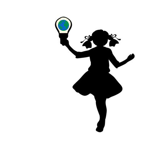 Silhouette girl holds symbol Earth Hour Vector Illustration