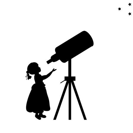 Silhouette girl looks into space telescope vector illustration. Illustration