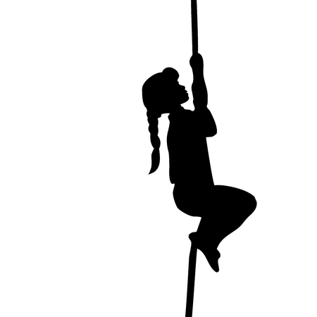 Silhouette girl climbs up the rope. Vector illustration