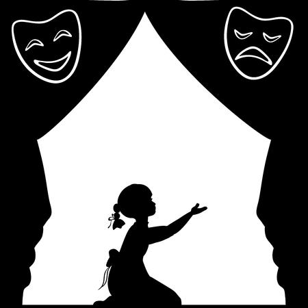 Chica silueta toca el escenario. Día mundial del teatro. Ilustración vectorial