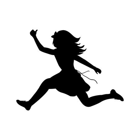 Silhouette happy girl running sport. Vector illustration Çizim