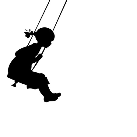 Silhouette girl play swinging swing. Vector illustration 일러스트