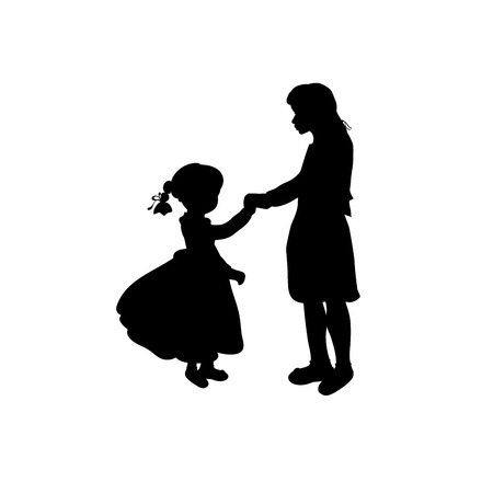 Silhouette family girl with sister. Vector illustration
