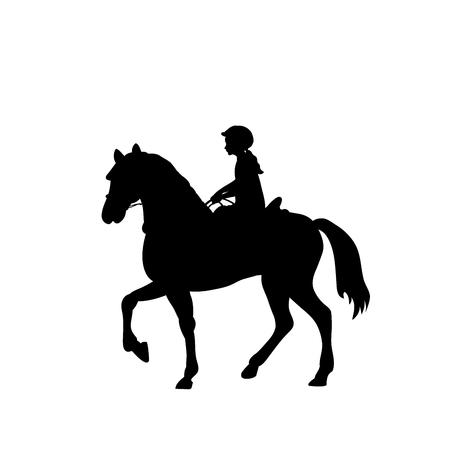 Silueta chica jinete equitación equitación. Ilustración vectorial