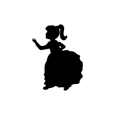 Silhouette girl with presentation up. Vector illustration Illustration