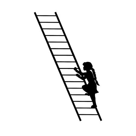 Schattenbildmädchen, das oben Treppe steigt. Vektor-illustration