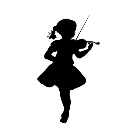 Silhouette girl music plays violin. Vector illustration Illustration