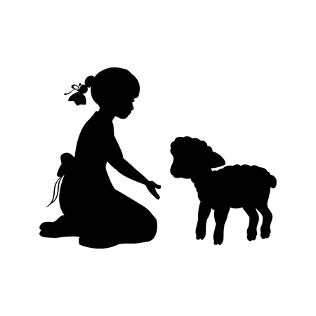 Silhouette girl sitting knees beckon lamb