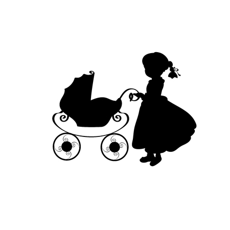 Silhouette family girl with sidecar