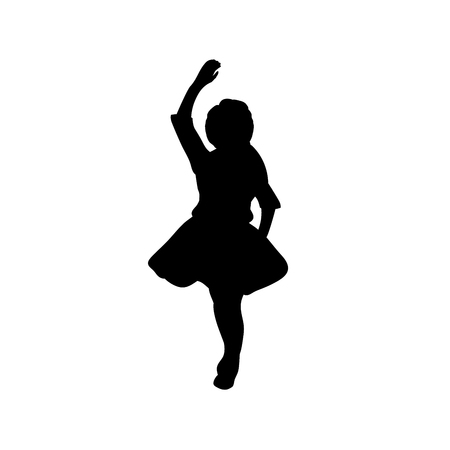 Silhouette girl with hands up. Vector illustration