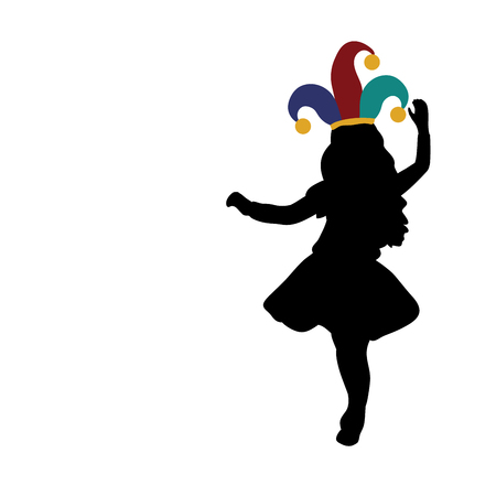 Silhouette girl happy April 1. Day Fools. Day laughter