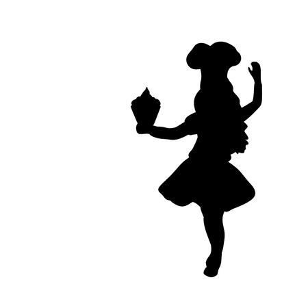 Female cook in Silhouette Illustration.