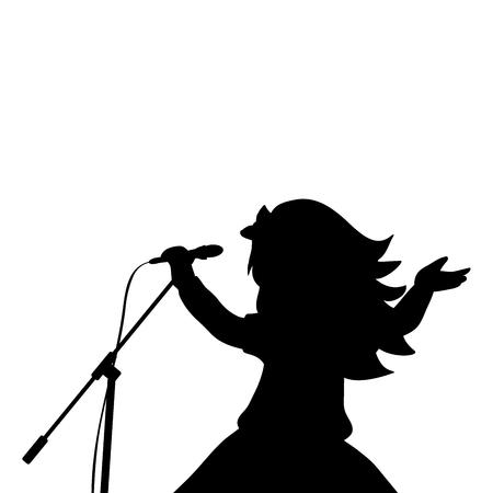Silhouette girl music sings in microphone