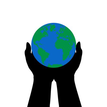 Hands hold earth illustration.