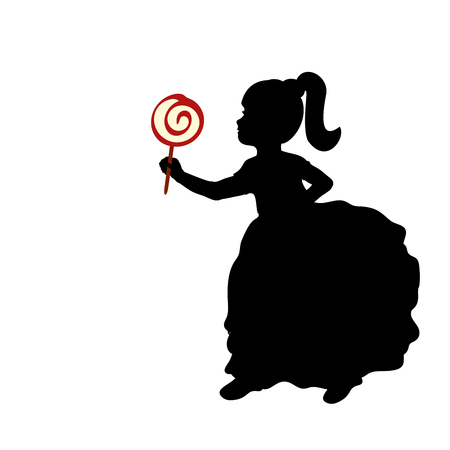 Silhouette girl hold sweet candy.