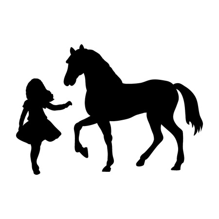 Silhouette girl wants touch horse