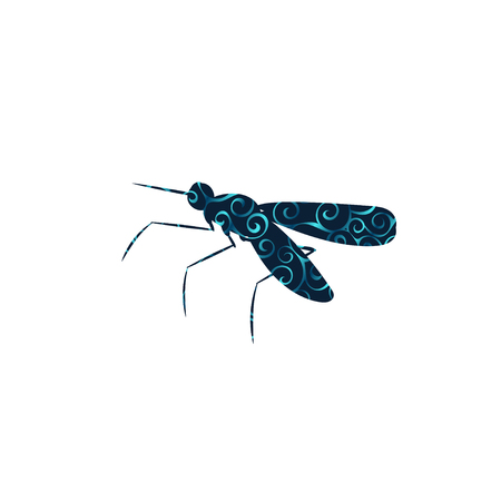 Mosquito insect spiral pattern color silhouette animal.