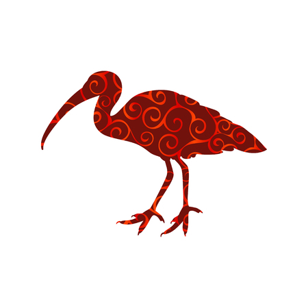 Ibis bird spiral pattern color silhouette animal Illustration