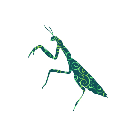 Praying mantis insect spiral pattern color silhouette animal Illustration