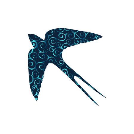 Swallow bird spiral pattern color silhouette animal. Vettoriali
