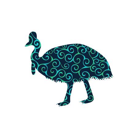 baiser oiseau spirale motif de couleur silhouette de l & # 39 ; oiseau